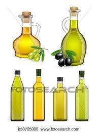 olive oil bottles and jars set clipart