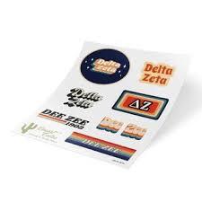 Delta Zeta Stickers Decals Greek Gear