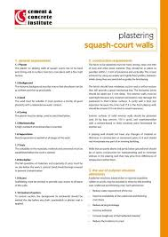 plastering squash court walls cement