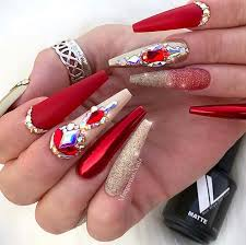 red acrylic nail designs of 2019