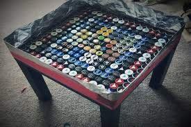 upcycle beer bottle caps into a table