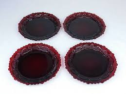 avon cape cod ruby red glass 7 5 salad