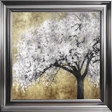 silver blossom framed wall art with