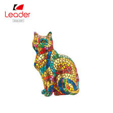 china resin mosaic cat figurine for