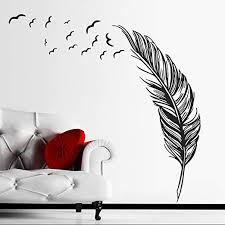 Amazon Com Bibitime Birds Flying Feather Large Wall Stickers Vinyl Art Decals Modern Room Decor 8857 Cm Black Left Kitchen Dining