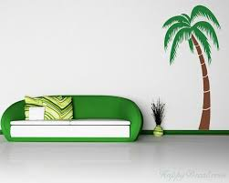 Tropical Palm Tree Tree Leaves Wall Decal For Bedroom Office Vinyl Leaves Tree Wall Decal