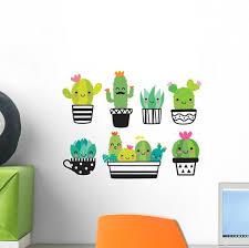 Cute Kawaii Succulent Cactus Wall Decal Sticker Set Wallmonkeys Com