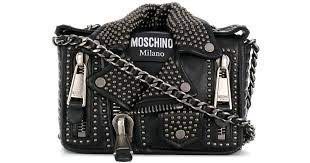 moschino studded leather jacket bag in