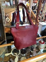 large red leather coach shoulder bag