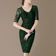 Simple Green Formal Lace Dress Half Sleeve Elegant Green Dress ...