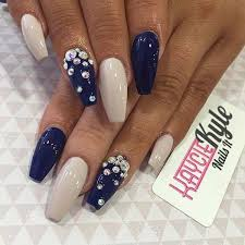 acrylic nails design beige with royal
