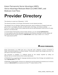 2018 Provider Directory Southern California