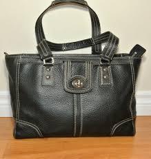 black pebbled leather tote shoulder bag