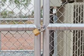 Chain Link Fence And Metal Door With Stock Image Colourbox