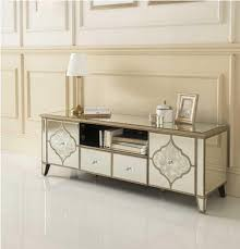 mirrored tv console living room