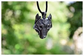 wolf head pendant necklace ancient