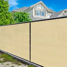 Amazon Com Amgo 6 X 50 Beige Fence Privacy Screen Windscreen With Bindings Grommets Heavy Duty For Commercial And Residential 90 Blockage Cable Zip Ties Included Available For Custom Sizes