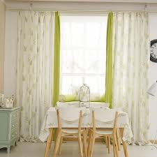 Country Apple Green And White Two Tone Cotton Linen Dining Room Curtains