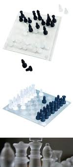 glass chess set elegant pieces and