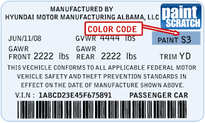 hyundai touch up paint color code