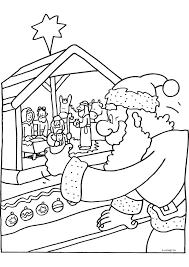 Kerstman Bij De Kerststal Kerst Kleurplaten Kleurplaat Com