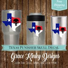 Yeti Cup Decal Texas Flag Punisher Skull Skull Decals State Of Texas Texas Stickers Car Window Decals Yeti Decals For Yeti Cups Cup Decal Yeti Decals