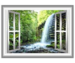 East Urban Home Waterfalls 3d Window Wall Decal Reviews Wayfair
