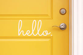 Hello Vinyl Door Decal Hello Front Door Decals Hello Office Vinyl Door Decal Front Door Decal Vinyl Lettering