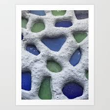 sea glass mosaic detail art print by