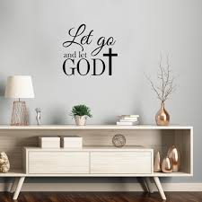 Vinyl Wall Art Decal Let Go And Let God With Cross 22 X 23 5 R Imprinted Designs