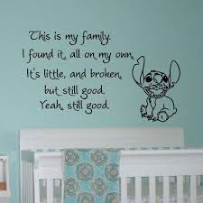 Vinyl Wall Decals Quotes Lilo And Stitch This Is My Family I Found It On My Own Wall Deca In 2020 Lilo And Stitch Quotes Vinyl Wall Decal Quote Nursery Wall Stickers