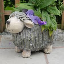 grey sheep garden planter decorative