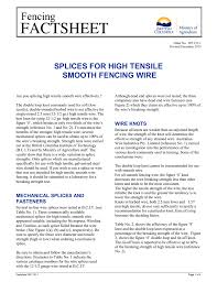 Splices For High Tensile Smooth Fencing Wire