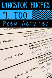 i too by langston hughes poem activities poetry lessons