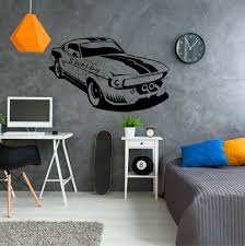 Shelby Mustang Muscle Car Vinyl Wall Decal Sticker Etsy Muscle Cars Mustang Wall Decals Dorm Room Wall Art