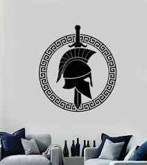 Vinyl Wall Decal Spartan Greek Warrior Sword Shield Ancient Sticker Mural Ig5276 Ebay
