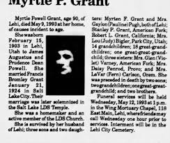 Obituary for Myrtle Powell Grant, 1903-1993 (Aged 90) - Newspapers.com