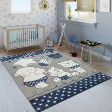 Kids Animal Rug Blue Grey White Childrens Bedroom Mat Baby Nursery Star Carpets Ebay
