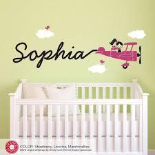 Airplane Name Wall Decal Girl Skywriter Travel Theme Nursery Etsy