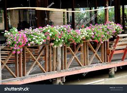 Hanging Flower Pots Fence Nature Stock Image 139341008