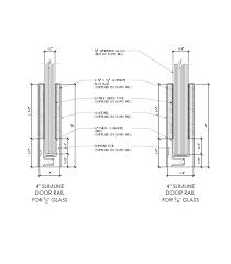 slimline glass door rails details