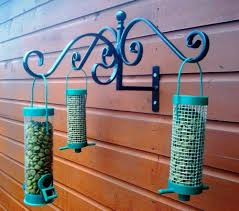 Wild Bird Feeder Station Fence Tree Shed Wall Mounted Wrought Iron Hanger Bird Feeder Station Wrought Iron Bird Feeder Wild Bird Feeders