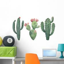 Watercolor Cacti And Succulents Wall Decal Sticker Set Wallmonkeys Com