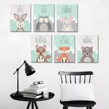 Vova Nordic Cute Animal Canvas Wall Painting Picture Poster Kids Room Bedroom Decor