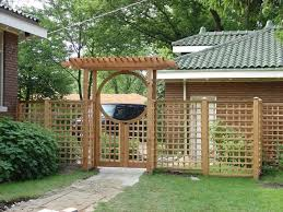 Craftsman Lattice Side Panels Attached To Asian Style Arched Arbor Lattice Fence Fence Landscaping Backyard Fences