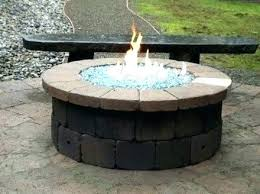 outdoor fire pit with glass rocks