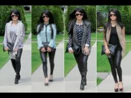 outfits paired with faux leather tights