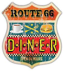 Route 66 Diner Retro Vintage Vinyl Sticker Decal Etsy