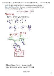 3 4 3 multi step equations practice pd