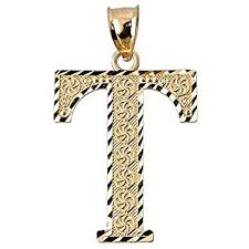 10k yellow gold initial letter t charm